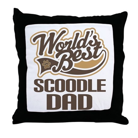 Scoodle Dog Dad Throw Pillow