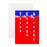 Tea on Sea of Red Ink Greeting Card