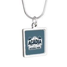 Acadia National Park Silver Square Necklace