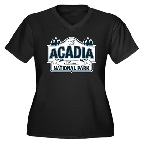 Acadia National Park Women's Plus Size V-Neck Dark