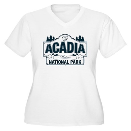 Acadia National Park Women's Plus Size V-Neck T-Sh