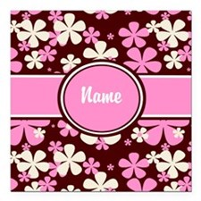 """Pink Floral Personalized Square Car Magnet 3"""" x 3"""""""