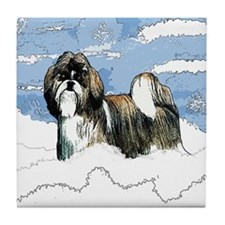 Shih Tzu Christmas Holiday Angi Tile Coaster