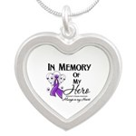 In Memory Alzheimers Silver Heart Necklace