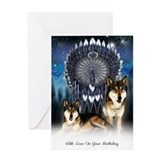 Birthday Greeting Card American Indian Style Wolf