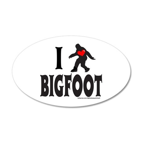 I HEART/LOVE BIGFOOT 20x12 Oval Wall Decal