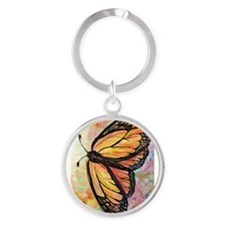 Orange Butterfly! Nature art! Round Keychain
