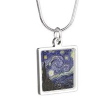 Starry Night Silver Square Necklace