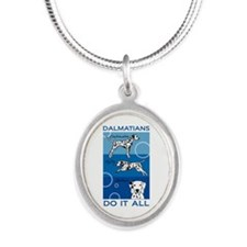 Cute Dalmatian Silver Oval Necklace
