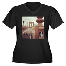 Brooklyn Bridge Women's Plus Size V-Neck Dark T-Sh