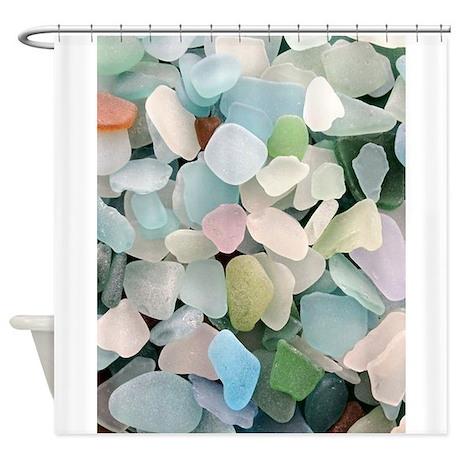 Shower curtains fabric shower curtains bathroom shower for Sea glass bathroom design