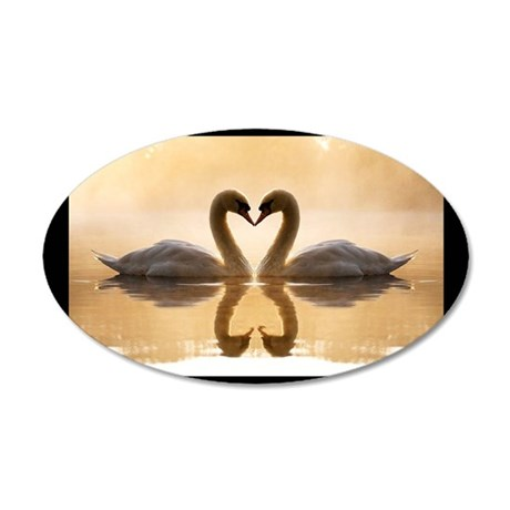 Love Swans 35x21 Oval Wall Decal