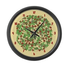 Ladybugs and Ivy on Sunny Yellow Large Wall Clock