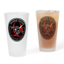Zombie Squad 3 Ring Patch outlined Drinking Glass