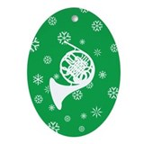 French Horn Snowflake Ornament (Green Oval)