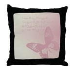 Creamy Pink Butterfly Throw Pillow