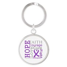Hope Courage Alzheimers Round Keychain