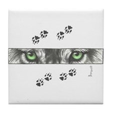 """Wolf Eyes & Paw Prints"" Tile Coaste"