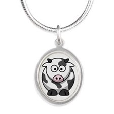 cow drawing Silver Oval Necklace