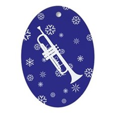 Trumpet Snowflake Ornament (Dk Blue Oval)