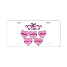 Personalized Grand kids hearts Aluminum License Pl