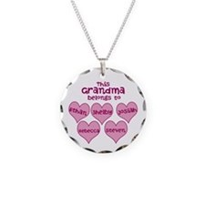 Personalized Grand kids hearts Necklace Circle Cha