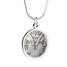 Ancient Coin Showing Janus Silver Round Necklace