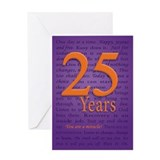 25 Year Recover Birthday Greeting Card