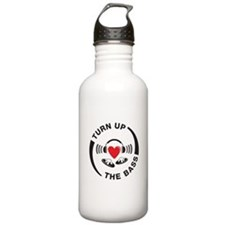 DJ turn up the bass red and black design Water Bottle