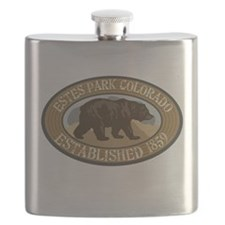 Estes Park Brown Bear Badge Flask