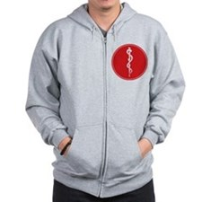Rod of Asclepius Seal Zip Hoodie