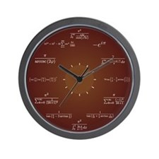 Math Clock (Dark Red) Wall Clock