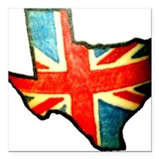 "BRIT IN TX Square Car Magnet 3"" x 3"""
