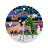Xmas Magic & Fawn Great Dane Ornament (Round)