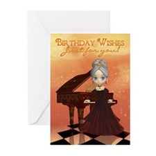 Birthday Card With Piano & Lady (Pk of 10)