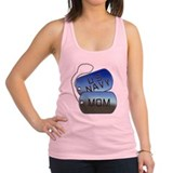 Navy Mom - Mother Dog Tag Racerback Tank Top