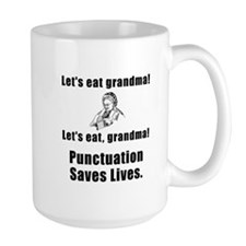 Punctuation Saves Lives Black Mugs