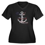 Proud Navy Mom.png Women's Plus Size V-Neck Dark T
