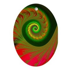 """Holiday 3"" Fractal Art Oval Ornament"