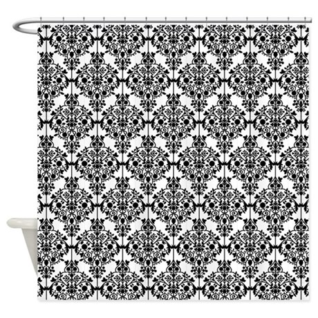 Curtains With Red Flowers Black and White Damask Fabric