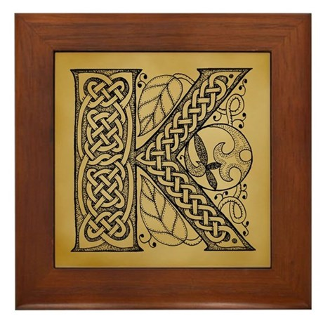 Celtic Letter K Framed Tile