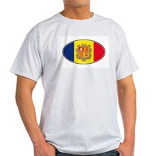 Andorran Oval Flag Ash Grey T-Shirt