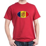 Andorran Oval Flag Dark Red T-Shirt