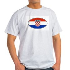 Croatian Oval Flag Ash Grey T-Shirt