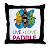 Live Love Paddle Throw Pillow