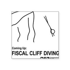 "Fiscal Cliff Diving Square Sticker 3"" x 3"""