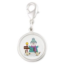 Snowman and Siamese Kitties Silver Round Charm