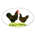 Barnevelder Chickens Sticker (Oval 10 pk)