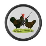 Barnevelder Chickens Large Wall Clock