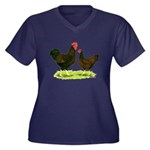 Barnevelder Chickens Women's Plus Size V-Neck Dark